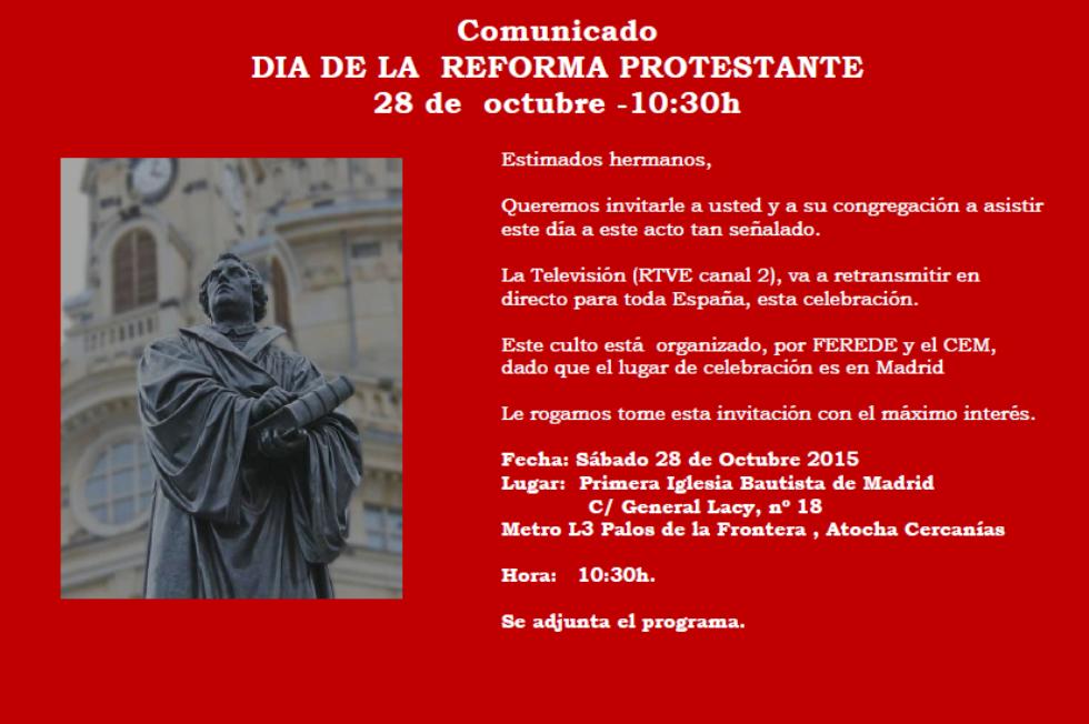 Día de la Reforma Protestante 28/10/2017